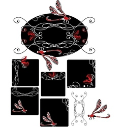 Set of art nouveau style dragonfly vector