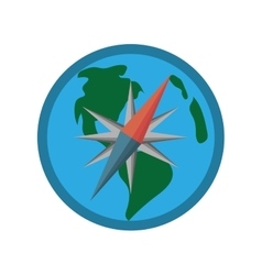 Globe earth map compass navigation vector