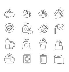 Hygiene line icons cleaning and clean vector