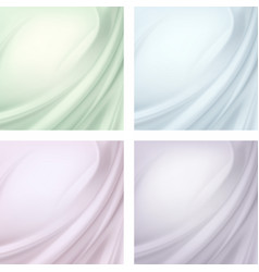 Set of textile wavy folds abstract background vector