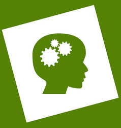 Thinking head sign  white icon obtained as vector