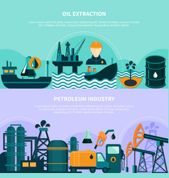 Offshore petroleum production banners vector