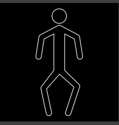 A man with crooked legs the white path icon vector