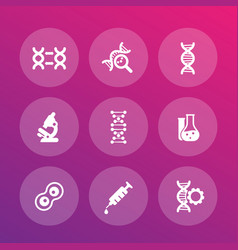 Genetics icons dna chains genetic modification vector