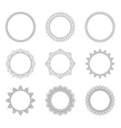 Set of round decorative frames vector