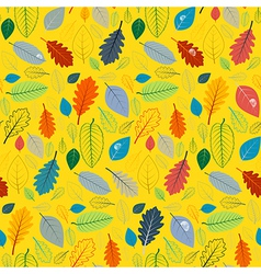 Abstract yellow seamless pattern with leaves vector
