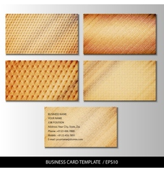 Set of wooden themed business card templates vector