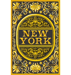 Vintage new york label plaque black and gold vector