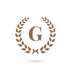 Letter g laurel wreath logo icon design template vector