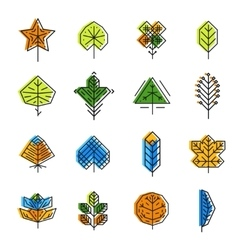 Leaf icon set in line style vector
