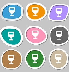 Wine glass alcohol drink icon symbols multicolored vector