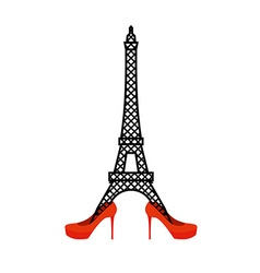 Eiffel tower in red womens shoes fashion symbol of vector