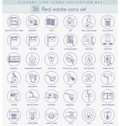 Real estate outline icon set elegant thin vector