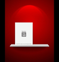 Empty white shelf on red wallpaper vector