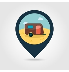 Camping trailer pin map icon summer vacation vector