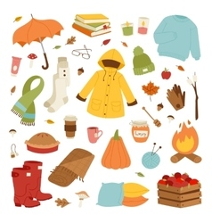 Autumn icons hand drawn vector image