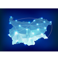Bulgaria country map polygonal with spot lights vector image vector image