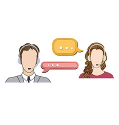 call center concept man and woman in headset icon vector image vector image