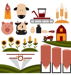 Cartoon flat design icons of agriculture vector