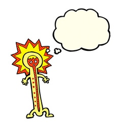 Cartoon hot thermometer with thought bubble vector