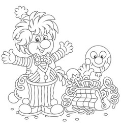 Circus clown with toys vector