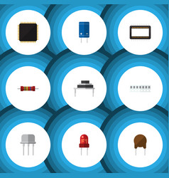 Flat icon electronics set of memory transistor vector