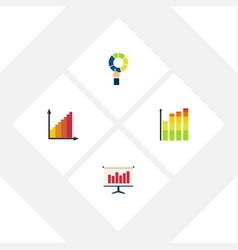 flat icon graph set of pie bar monitoring graph vector image