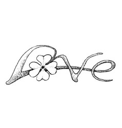 Four leaf clovers with love sign vector