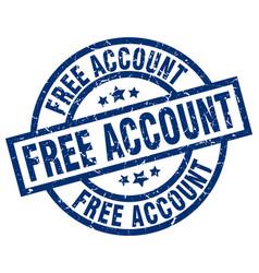 Free account blue round grunge stamp vector