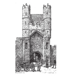 Gothic architecture city gate in york during vector
