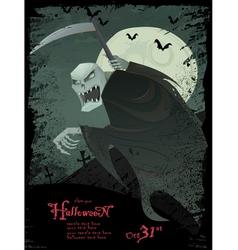 halloween grim reaper template vector image vector image