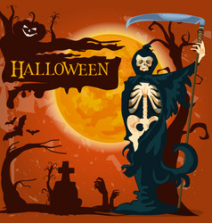 Halloween holiday death horror poster vector