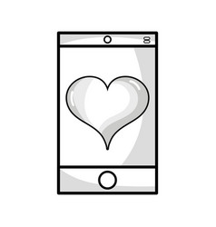 line smartphone technology with heart love design vector image vector image