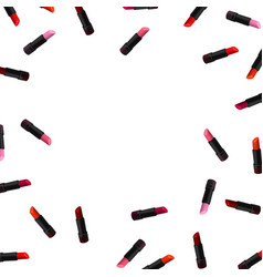 lipstick border on white background beauty vector image vector image