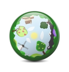 Little planet 360 panorama concept summer vector