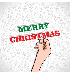 merry christmas sticker in hand vector image