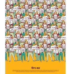 Poster crowd unemployment business people top vector