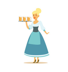 Pretty waitress in a blue bavarian traditional vector