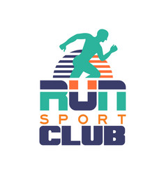run sport club logo template emblem with abstract vector image
