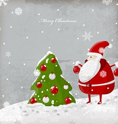 Santa and Christmas Tree cartoon vector image