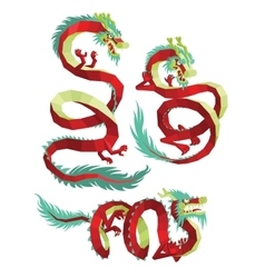 Set of PolygonalChinese Dragons vector image vector image