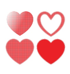 Set of red hearts with halftone effect vector