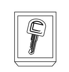 Silhouette rectangle button with key vector