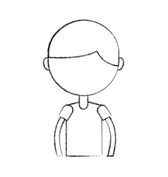 Sketch draw upper body boy cartoon vector