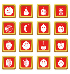 smiling fruit icons set red vector image