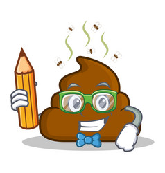 Student with pencil poop emoticon character vector