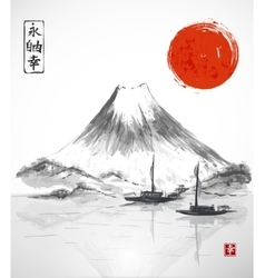 Two fishing boats sun and Fujiyama mountain vector image