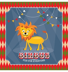 Vintage circus card with cute funny lion vector image