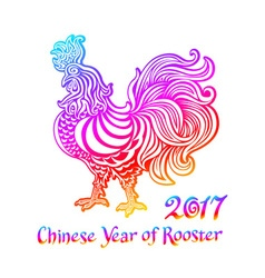 Rainbow Rooster Rooster Chinese zodiac symbol of vector image