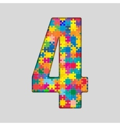 Color puzzle number - 4 four gigsaw piece vector